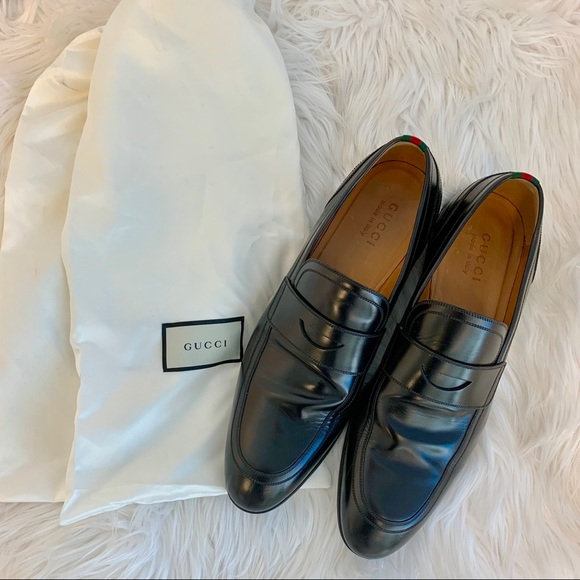 5f65b04b060 Gucci Other - Gucci Loafers Black Leather with Grosgain Trim